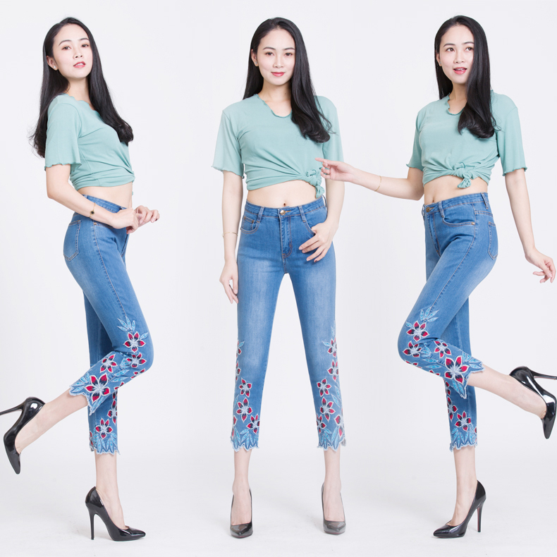 KSTUN FERZIGE Summer Jeans Women Embroidery High Waist Stretch Floral Push Up Skinny Slim Fit Pencils Calf-Length Pants Light Blue 36 12