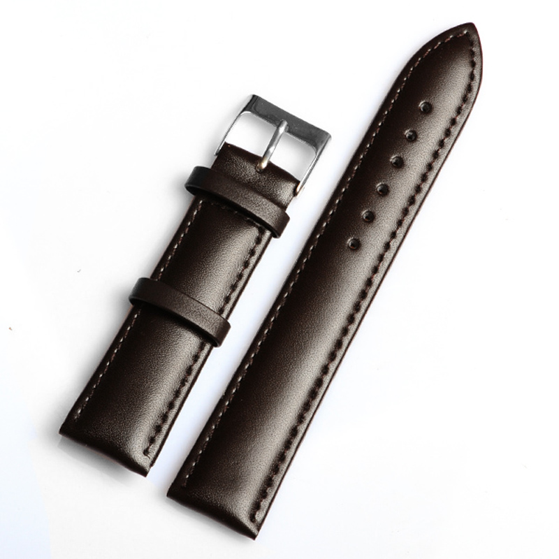 Retail– High Quality1PC 20MM Genuine leather watchband waterproof Straps Smooth surface dark brown watch band