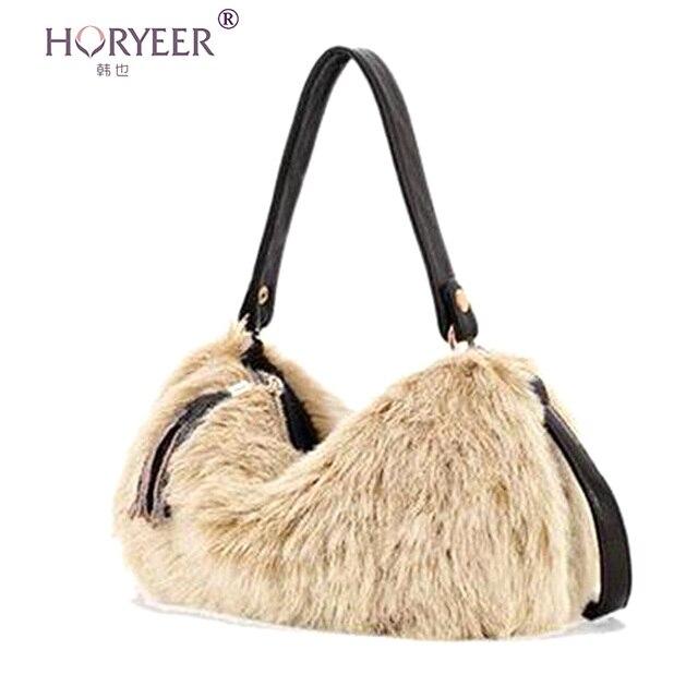HORYEER Женщин сумка Европейский и Американский искусственный мех молнию сумки женщины сумки посыльного плеча Crossbody сумки