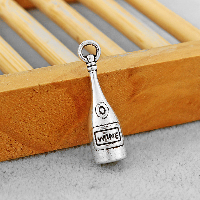 30PCS Antique Silver Red Wine Bottle Charms Pendants Fit Necklace Earrings Making Jewelry Findings 28x8mm 5