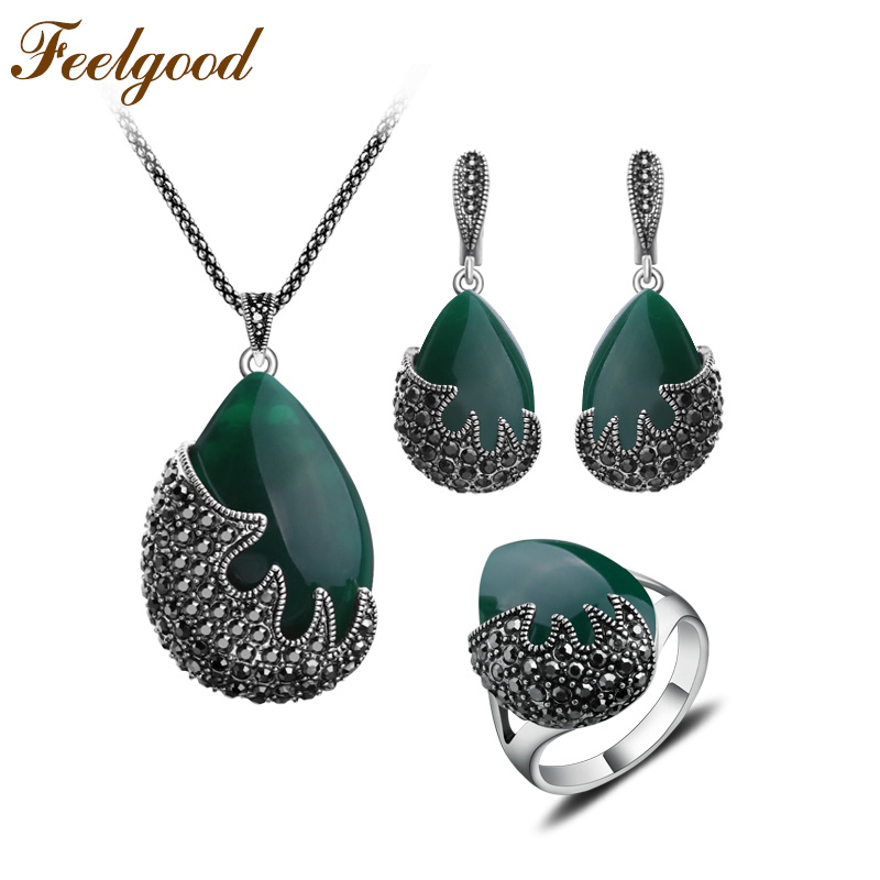 Feelgood Trendy Jewellery Water Drop և Black Crystal Flame Shape - Նորաձև զարդեր - Լուսանկար 2