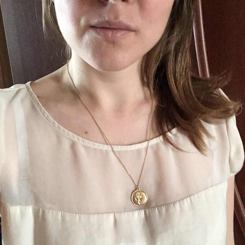 בציר מגולף מטבע שרשרת לנשים אופנה זהב צבע מדליון שרשרת מרובה שכבות תליון ארוך שרשראות Boho תכשיטים