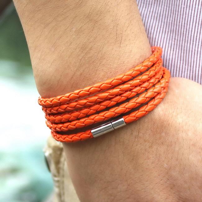 XQNI, брендовый, черный, Ретро стиль, обёрточная бумага, Длинный кожаный браслет, мужские браслеты, модные, скрученные, звенья цепи, мужской браслет с 5 кругами - Окраска металла: SLPG50