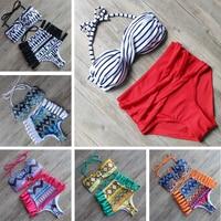 Reversible Bandage Bikini 2015 Swimsuit Swimwear Women Brazilian Bikini Set Vintage Sexy Beachwear Biquini Maillot De