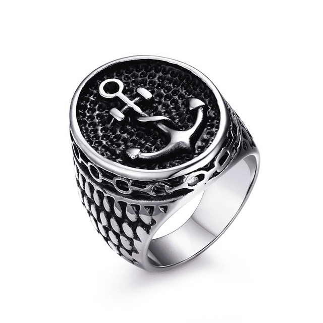 wholesale punk men ring 25mm anchor stainless steel rings retro style steel ring men jewelry black