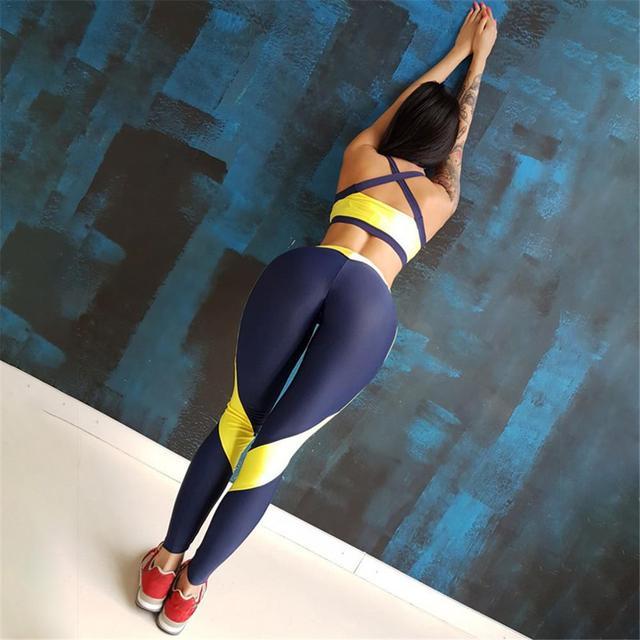 Women Tracksuit Sport Suit Yoga Set Fitness Gym Woman Sportswear Workout Kit Sports Bra Leggings Female Clothing Yellow 3