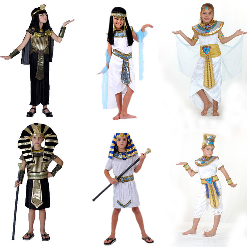 Halloween Costumes Boy Girl Ancient Egypt Egyptian Pharaoh Cleopatra Prince Princess Costume for Children Kids Cosplay Clothing black and coffee 2 colors hair tiara ancient chinese emperor or prince costume hair crown piece cosplay use for kids little boy