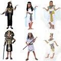 Trajes de halloween da menina do menino egípcio egito antigo faraó cleópatra prince traje da princesa para as crianças crianças cosplay roupas