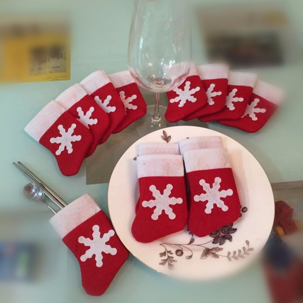 12 Pieces Lot Christmas Tree Decor Mini Christmas Stockings and Sacks Christmas Decoration Supplies Festival Party Ornament in Stockings Gift Holders from Home Garden