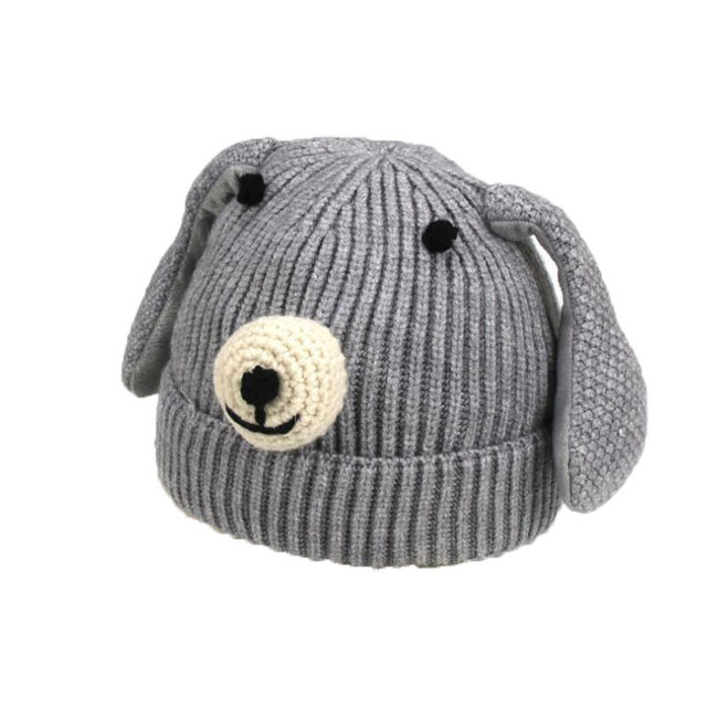 Baby Beanies Hats Boy Girl Big Ear Dog Design Kids Knit Skull Cap Thick  Ribbed Cap b0f92b19377