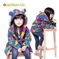 Nuevo 2015 estilo coreano abrigos de los niños para las niñas prendas de abrigo espesar camuflaje de terciopelo chaquetas moda cálida abrigos para las niñas KU988