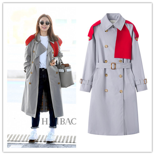 UK Style Autumn   Trench   Patchwork Fashion New 2019 Office Lady Waist Belt Double Breasted Casual Full Sleeve Long Windbreaker