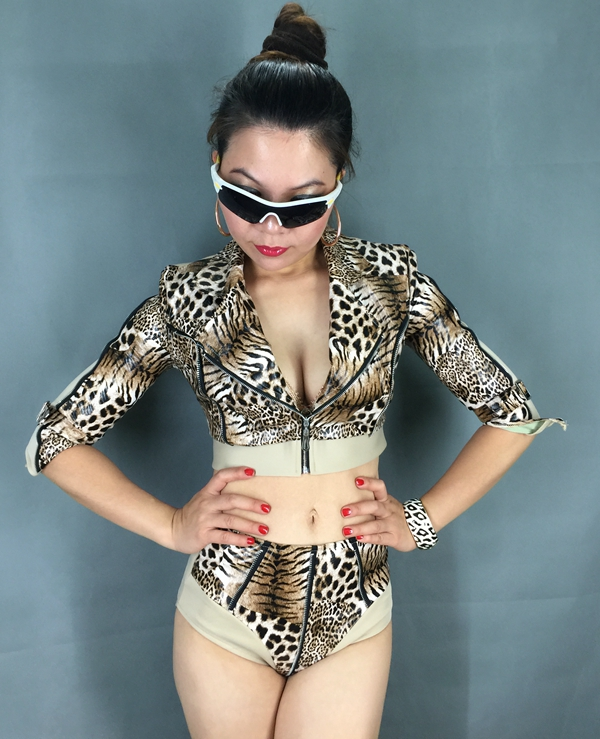 Fashion quality leather leopard print sexy twinset women nightclub female singer dancer dj ds costume stage wear performance