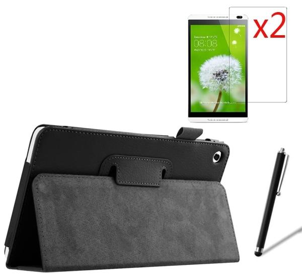 4in1 2-Ordner Luxus Folio Stand Ledertasche + 2x Filme + Stylus für - Tablet-Zubehör