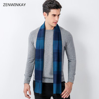 2018 Fashion Winter Autumn Male Plaid Wool Scarf Men Luxury Brand Scarves Cashmere Thick Warm Wrap