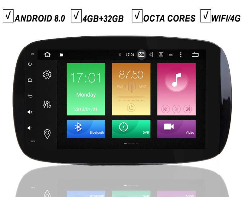"9 ""completamente táctil pantalla Android 8,0 coche DVD GPS Player para Mercedes Benz SMART 2016-Radio BT Octa Core Px5 4G RAM + 32G ROM Wifi"