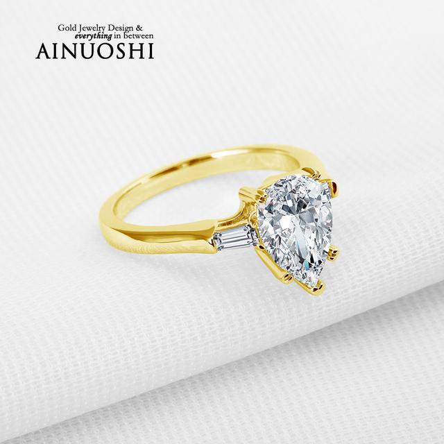 Ainuoshi 10 k sólido oro amarillo anillo de bodas clásico diseño pear cut diamante simulado joyería anillo de promesa de compromiso band amante