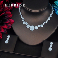 HIBRIDE Luxury Micro CZ Pave Flower Dubai Jewelry Sets For Women Bride Necklace Set Wedding Jewelry Dress Accessories N 394
