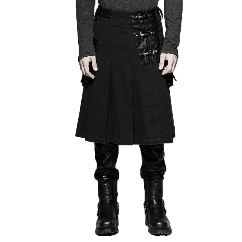 Steampunk Faux Leather Men Half Skirt Gothic Punk Fashion Pattern Mens Middle Leather Skirt Pants With Big Pocket Large Sizes