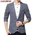 LONMMY M-3XL Plaid blazer men Brand-clothing Men blazer suit Slim fit High quality Polyester Fashion men blazer designs 2016 New