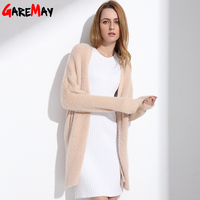 Cardigan Women Warm Fluffy Sweater Fake Mink Cashmere Pink Plus Size Long Cardigan Female Femme Knitting