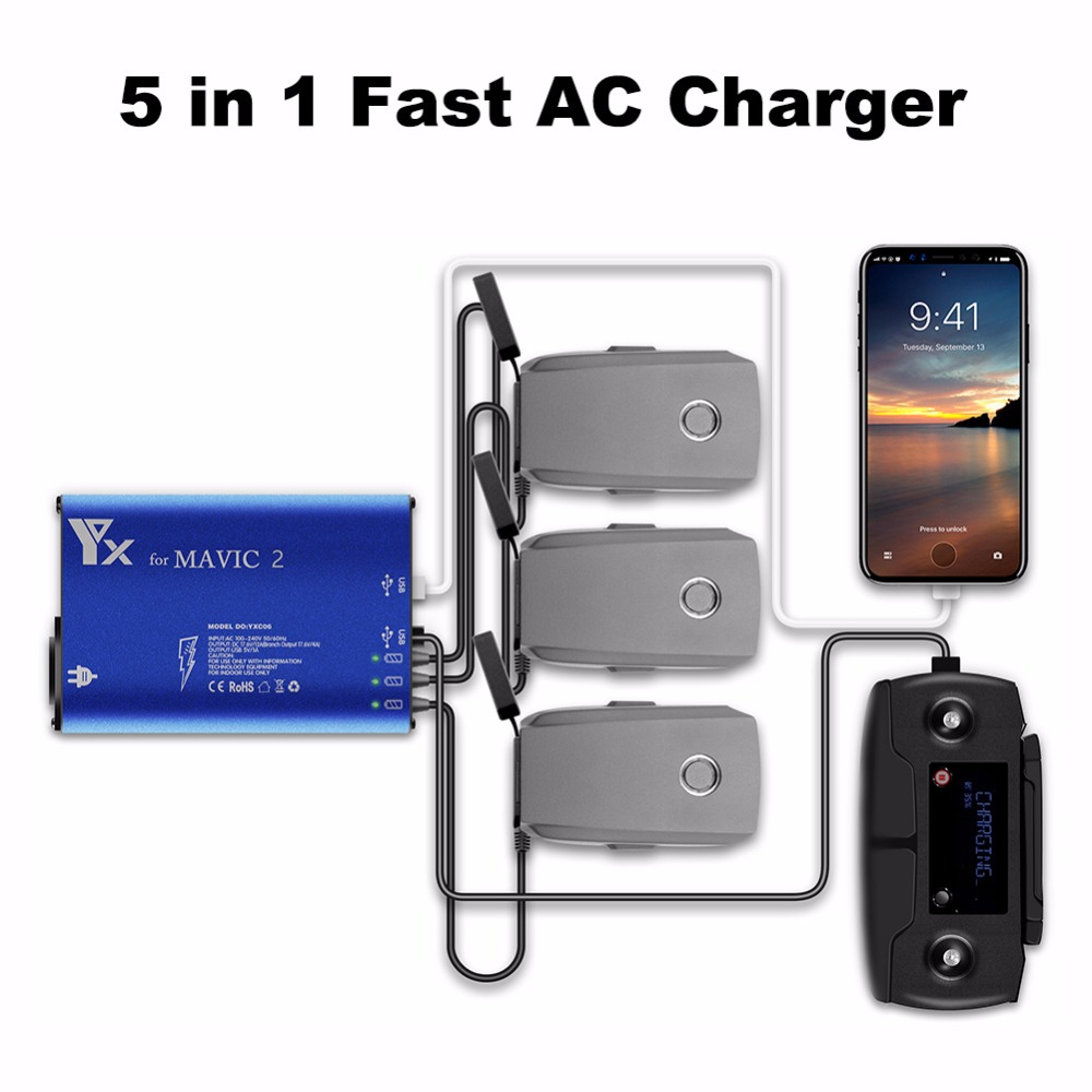 5in1 Multiple Intelligent Charging Hub Fast AC Charger For DJI Mavic 2 Pro / Zoom Drone Battery Car Charging Adapter EU/AU Plug