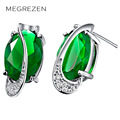 Green Stone Stud Earrings For Girls Fashion Brand Austrian Crystal Earrings Jewelry With Blue Stones For Women 2016 B005-5