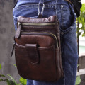 Hot Sale Top Quality Genuine Real Leather Cowhide men Vintage Small Messenger Bag Pouch Waist Pack Bag 6549