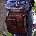 Venda quente de Alta Qualidade Genuína Do Couro De Couro Real dos homens Saco Pequeno Mensageiro Do Vintage Bolsa Saco Pacote de Cintura 6549