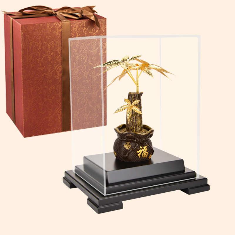 Asklove Feng Shui Fortune Pohon Emas Bonsai Ornamen 24 K Foil Emas Ornamen Pohon Uang Hadiah Dekorasi Rumah Kantor Desktop kerajinan