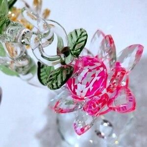 Image 2 - Glas Kristal Lotus Boom met 12pcs Lotus Fengshui Ambachten Home Decor Beeldjes Kerst Nieuwe Jaar Geschenken Souvenirs Decor Ornament