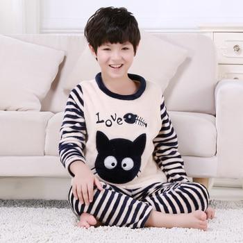 5-14years winter 2018 new fashion children pajamas flannel warm boys girls winter pajama sets Lounge wear Nightwear pijama mujer Sleepwear & Robes