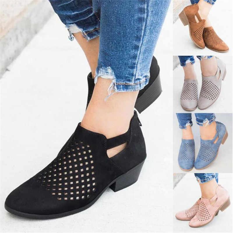 Femmes bottes 2019 printemps évider en cuir bottines pour femmes Zipper décontracté femmes chaussures Botines Mujer