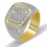 Luxury Full Crystal Big Stone Gold AAA Cubic Zirconia Rings For Men And Women Male Metal Plated Zircon Ring