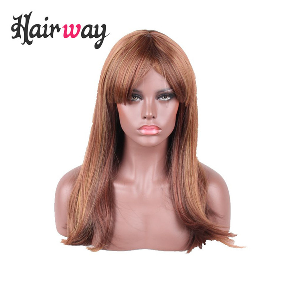 hair way 18inch Long Synthetic Lace Wigs Straight F3240 Red Brown Flaxen Mixed Color Made with Premium Japanese Fiber Soft Wig