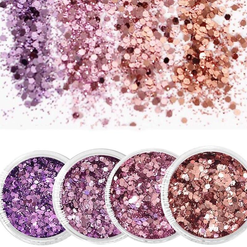Schönheit & Gesundheit 4 Farbe/set Glänzende Lila Glitter Pulver Holographische Laser Nagel Glitters 3d Nagel Glitters Pailletten Glitter Mix Hexagon Nagel Kunst