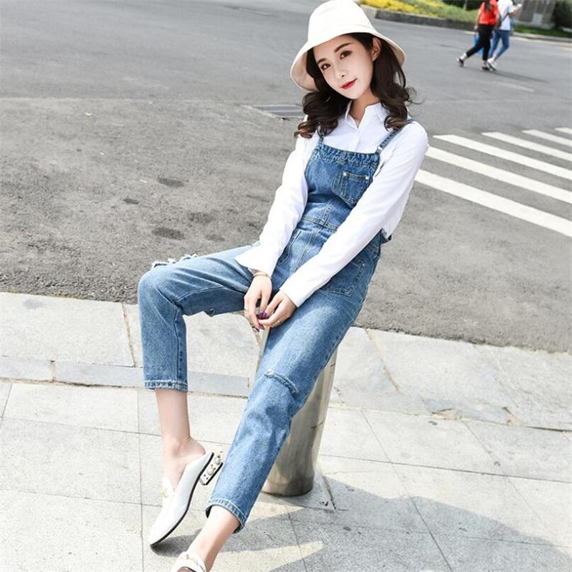 2019 new women Denim Jumpsuit fashion hole Streetwear Bodycon femme casual Suspender Pants jeans Overalls w568 16