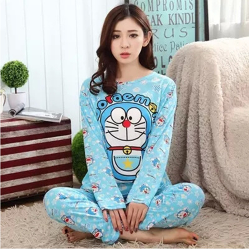 New Fashion Women Lovely Leisure Cotton Sleepwear Womens Female Doraemon Cartoon Pajamas Casual Long-sleeve Females Pijamas