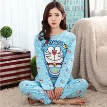 New Fashion Women Lovely Leisure Cotton Sleepwear Womens Female Doraemon Cartoon Pajamas Casual Long sleeve Females