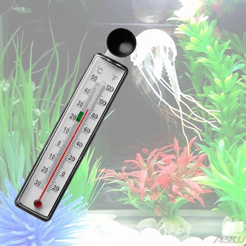 Aquarium Fish Tank Thermometer Glass Meter Water Temperature Gauge Suction Cup G03 Drop ship