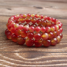 Ling Xiang 4/6/8/10/12mm Fashion natural Jewelry Watermelon chalcedony beads bracelet men and women Giving presents self use