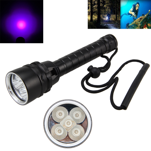 Underwater Flashlight  Torch 365nm-395nm Scuba Lamp Diving  5X UV LED Aluminum Waterproof 18650 waterproof ultraviolet diving light 3x uv led lamp diving flashlight scuba torch dive lanterna pcb 26650 battery eu charger