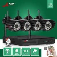 HD 1080P 2MP 4CH NVR Wireless WIFI Network IP Camera CCTV Security System 2TB HDD