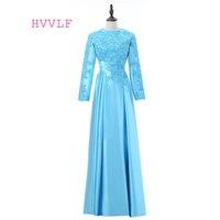 Turquoise 2018 Muslim Evening Dresses A-line Long Sleeves Chiffon Lace Islamic Dubai Abaya Kaftan Long Evening Gown Prom Dress