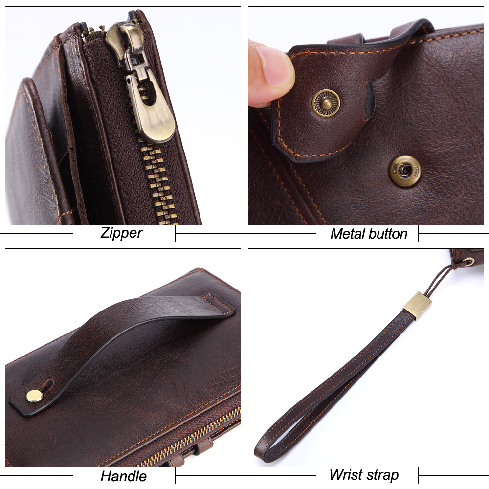 Fashionable and Casual Genuine Leather Wallet Men Large capacity Long Leather Bag with Coin Pocket Zipper Wallet in Wallets from Luggage Bags