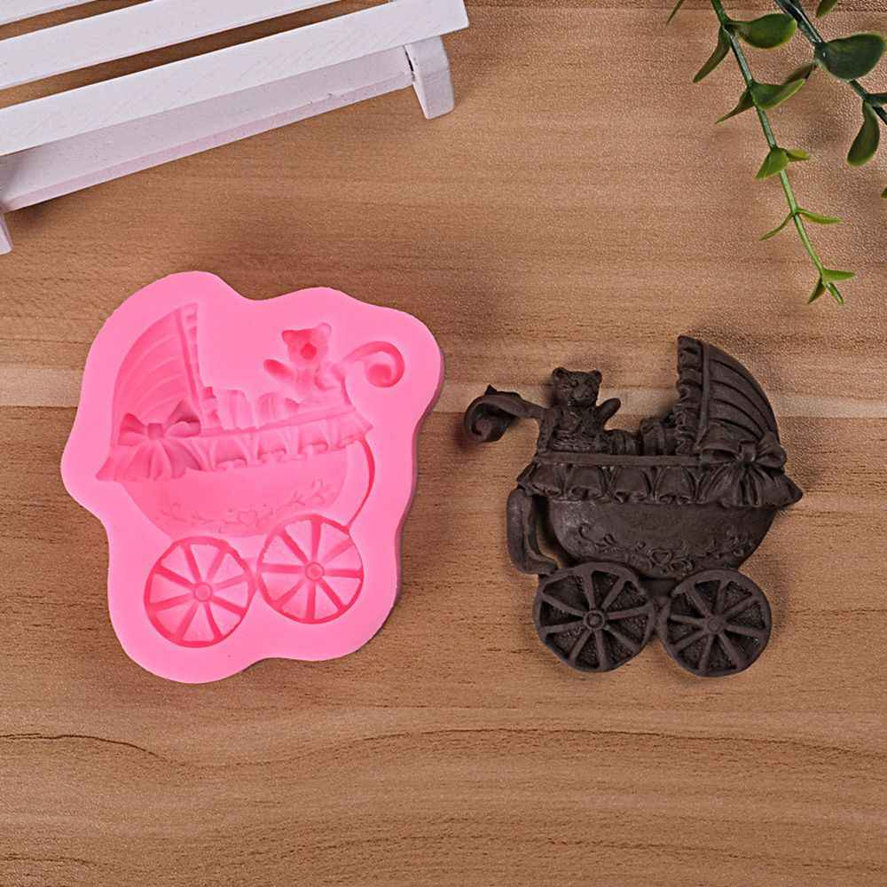 Bear Baby Carriage Car Bows Soap Mould DIY  Chocolate Fondant Baking Cake Decorating Tools Silicon Muffin Baking Molds