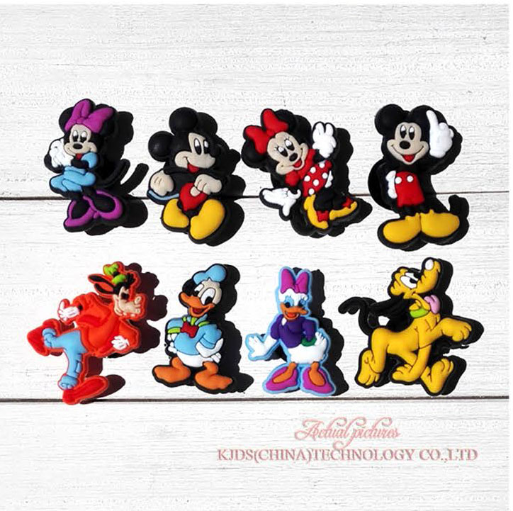Retail 8PCS Mickey Minnie PVC shoe charms shoe accessories shoe buckle for wristbands croc kids favor Birthday GiftRetail 8PCS Mickey Minnie PVC shoe charms shoe accessories shoe buckle for wristbands croc kids favor Birthday Gift
