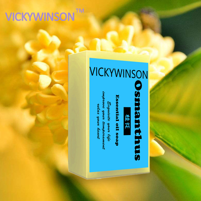 VICKYWINSON Osmanthus Flower Petals Soap Thailand Essential Handmade Soap Bath Face Washing Whitening Moisturizing Freckle