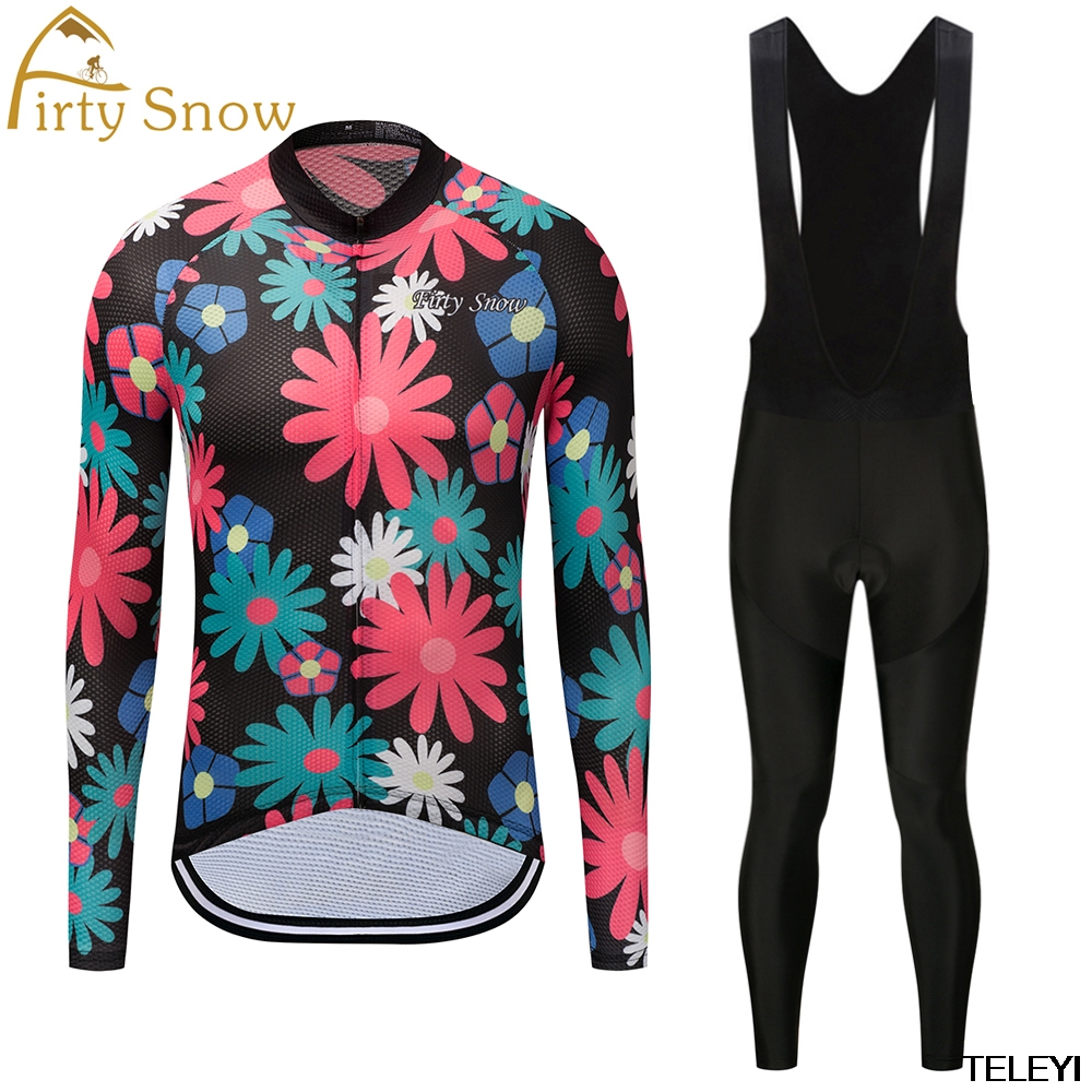 firty snow Cycling Jerseys Autumn/Spring Thin Long Sleeves Cycling Set Ropa Ciclismo Bike MTB Clothing Pants Suit 9D Gel Pad T25