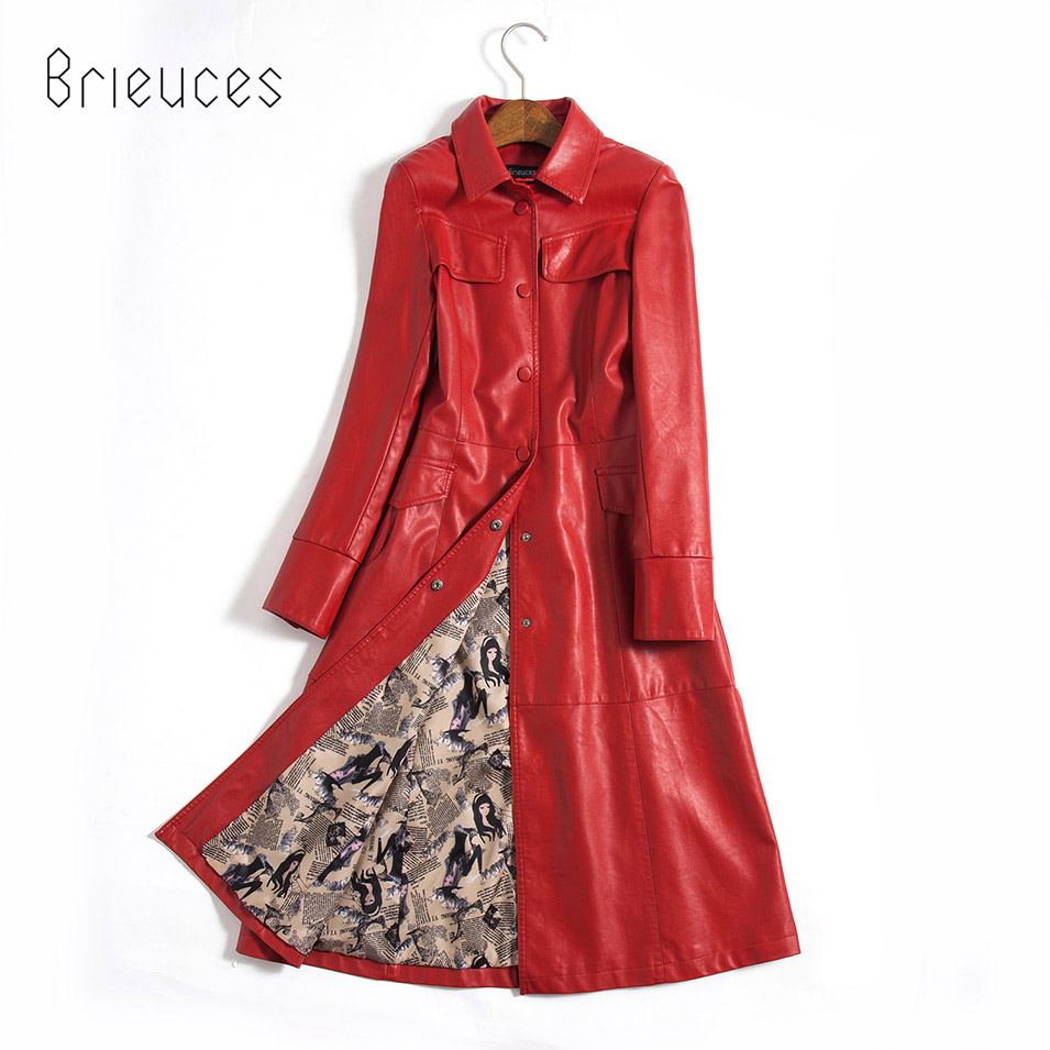 Brieuces 2019 New Arrival Women Autumn Winter Faux   Leather   Jackets Lady Fashion Long Motorcycle Women Coat Trench Outwear